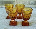 Vintage Indiana Glass Park Lane Amber Glasses (4) Cordial Juice
