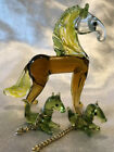 Vintage Glass Horse Figurines Mare Two Foal Art Glass Murano Equine Home Decor