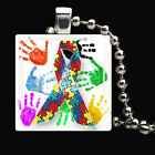 50PCS AUTISM AWARENESS Rainbow Puzzle Pieces Ribbon Hands Glass Tile Necklace