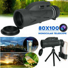 Monocular Telescope 80x100 BAK4 Prism HD Waterproof with Tripod Hiking Travel