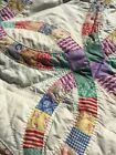 Magnificent Vintage Hand Maid Double Wedding Ring Quilt Lavender