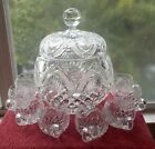 AMERICAN BRILLIANT Cut Glass Covered Lidded Punch Bowl VERY FINE SET