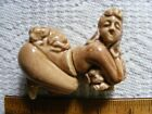 Vintage Naughty Nude Naked Lady Salt  Pepper Shakers with Dogs and CorksJapan