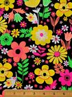 100 Cotton Fabric MOD 1960s NEON FLOWER POWER FQ 18 X 22 DIY Mask Quilting