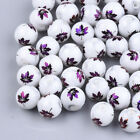10 Glass Maple Leaf Beads Electroplated 8mm Unique Jewelry Supplies Set White