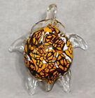 Art Glass Figurine TURTLE Large 07 Tortie Pattern Gold Brown 6 USA SELLER
