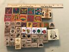 Lot Of Wood Mounted Rubber Stamps Varied designs