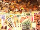 Grab Bag of 40 Foreign Coins 7 Foreign Banknotes + 10 Old US Wheat Cents