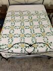 Vintage Patchwork Arch Quilt Double Wedding Ring Green Ivy Full Queen 86x97