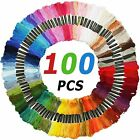 100 Multi Colors Cross Stitch Thread Embroidery Floss Sewing Skeins Cotton Line
