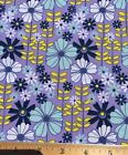 100 Cotton Fabric Purple MOD FLOWER POWER DIY Mask Quilting FQ 18X 22