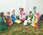 Vintage General Foam Blow Mold 8 Pc Nativity Set Holy Family Wise Men Shepherd