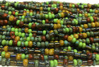 4 0 Czech Glass 5mm Seed Beads Aged Belle Ami Striped Tube Picasso Mix 20