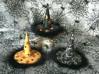 3 Pier 1  Halloween Stars Crescent Moons Glitter Feather Witch Hat Ornaments