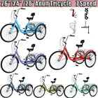 26 24 7Speed Adult Tricycle 3 Wheel Trike Cruiser Bicycle w Basket for Shopping