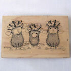 Stampa Rosa House Mouse Wrapped  Ready Mice Wood Mounted Rubber Stamp Christmas