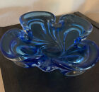 Mid Century Vtg Chalet Blue Ashtray Cigar Bowl Hand Blown Canada Signed 9 Di