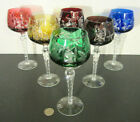 6 Bohemian LAUSITZER Crystal Multi Color Cut to Clear Glass 8 Hock Wine Goblets