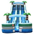 24H Commercial Inflatable Water Slide Tropical Double Lane Wet Dry With Blower