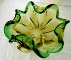 MURANO Glass Bowl SOMMERSO Green Canary Ombre Mid Century Vintage