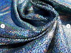 Pigskin leather hide skin Holographic Metallic Rainbow Silver Crackle Texture