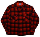 Vintage PENDLETON Long Sleeve Button Shirt 100 Wool Made USA Red Plaid XL