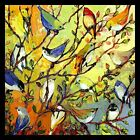 FRAMED Tree Birdies 12x12 Colorful Art Print Painting by Jennifer Lommers