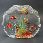 "Murano Glass 6 Fish Aquarium Sculpture 7.5""  Ocean Seaweed Contemporary Italy"