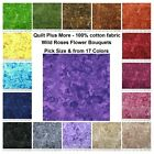 Wild Roses Flower Bouquet 100 cotton fabric Pick SIZE  from 17 COLORS