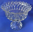 Beautiful Heavy Antique Pressed Glass Compote No Chips or Cracks 9H