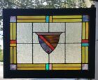 SUPERB ANTIQUE SHIELDED STAINED GLASS WINDOW FROM NORTHEAST PA