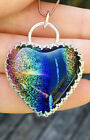 DICHROIC GLASS HEART Pendant ARTISAN STERLING SILVER RAINBOW COLORED HEART GLASS