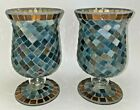 Mosaic Blue Multi Stained Glass Tiles Hurricane Candle Holder Vase A Pair