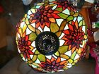 Vintage original Tiffany stained glass table lamp flowered shade