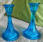 Turquoise Blue Glass Candlesticks Pair Vintage