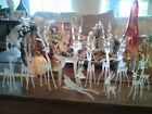 Lot of 11 Vintage Silvestri Reindeer Hand Blown Frosted Glass Christmas EUC
