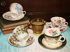 Vintage Lot of 4 Matching Tea Cups  Saucers Depression Glass Creamer Orchids