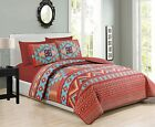 Turquoise Red Southwest Coverlet Quilt Cal King Size Set Native American Western