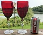 MID CENTURY RUBY RED GLASS WINE GOBLETS SET OF 9 TALL STEMS GOLD GILT DETAIL