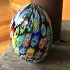 Murano Italy Millefiroi Egg Paperweight Orig Tag Multi Colored Art Glass Studio