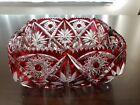 Vintage Crystal Red Cut to Clear Square Bowl Czech Bohemian Hand Blown