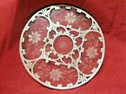 AMERICAN ETCHED CUT GLASS TRIVET WITH STERLING SILVER OVERLAY