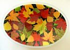 RARE Retired Peggy Karr Glass FALL Autumn Leaves 15 LARGE Centerpiece OVAL Bowl