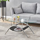 Oval Tempered Glass Side Coffee Table Bars w Shelf Living Room Furniture Clear