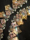 Vintage Coro Signed Pink Aurora Borealis Rhinestone Necklace Glass
