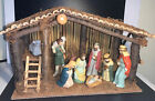Large Nativity Scene Set Stable With 10 Ceramic Figures Xmas Christmas