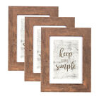 Set of 3 11x14 Rustic Photo Wood Frame with Mat for 8x10 Picture Home Wall Decor