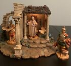 Fontanini Nativity Census Building + 3 Figures Retired Lighted HTF Wow