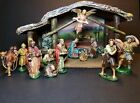 VTG NATIVITY 17 PC CHRISTMAS MANGER WOODEN STABLE PAPER MACHE CRECHE ITALY