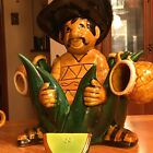 Vintage Large Mexican Tequila Decanter And Shot glass Set W Salt Shaker